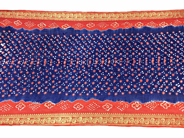 Orange And Blue Color Dani Design Art Silk Bandhani Saree