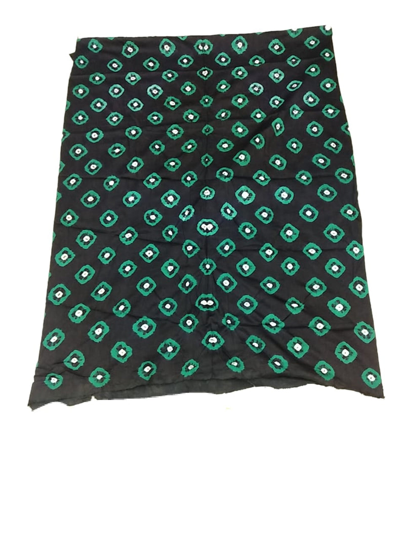 Sea Green And Black Color Hand Work Design Cotton Satin Bandhani Dress Material
