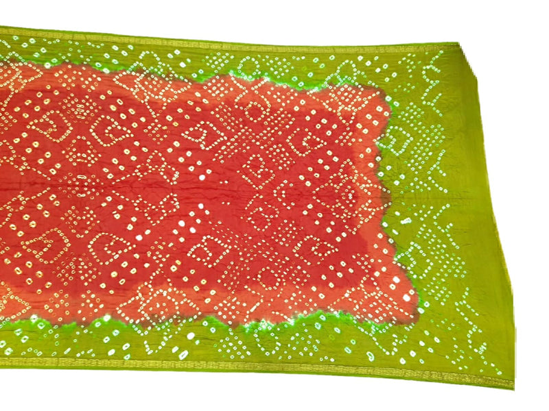 Red And Mahendi Color Shaded Design Art Silk Bandhani Dupatta