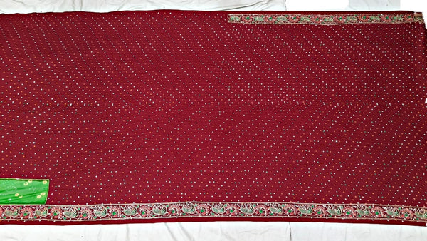 All Over Red Color Dani Design Work Gaji Silk Bandhani Saree - KalaSanskruti Retail Private Limited
