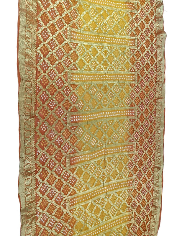 Orange And Yellow Color Janglow Design Art Silk Bandhani Saree - KalaSanskruti Retail Private Limited