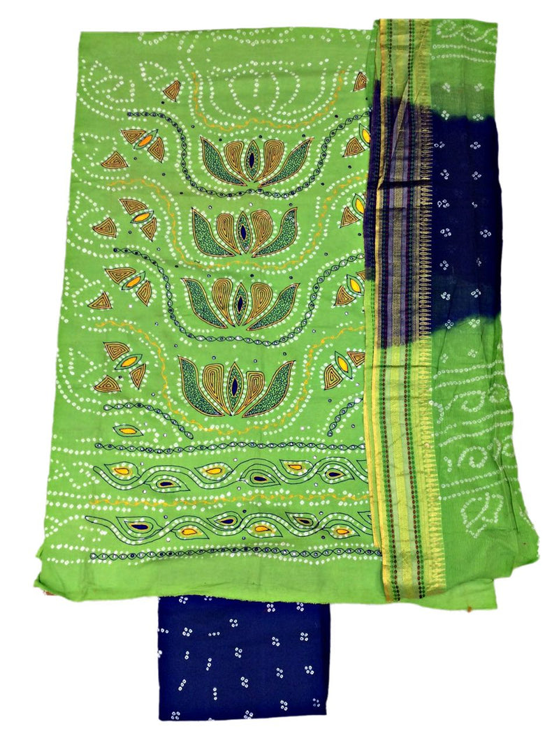 Parrot Green And Blue Color Hand Work Design Cotton Satin Bandhani Dress Material