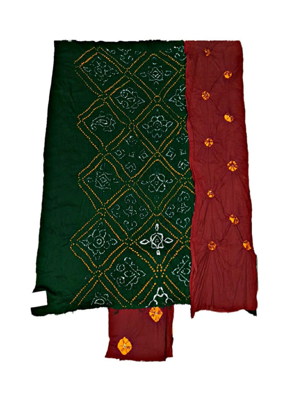 Green And Red Color Fancy Design Cotton Satin Bandhani Dress Material - KalaSanskruti Retail Private Limited