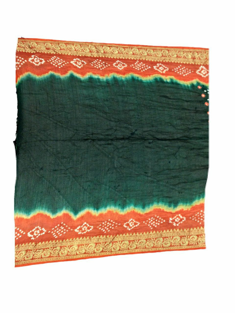 Rust And Green Color Dani Design Art Silk Bandhani Saree