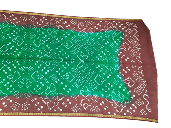 Maroon And Green Color Fancy Design Art Silk Bandhani Dupatta