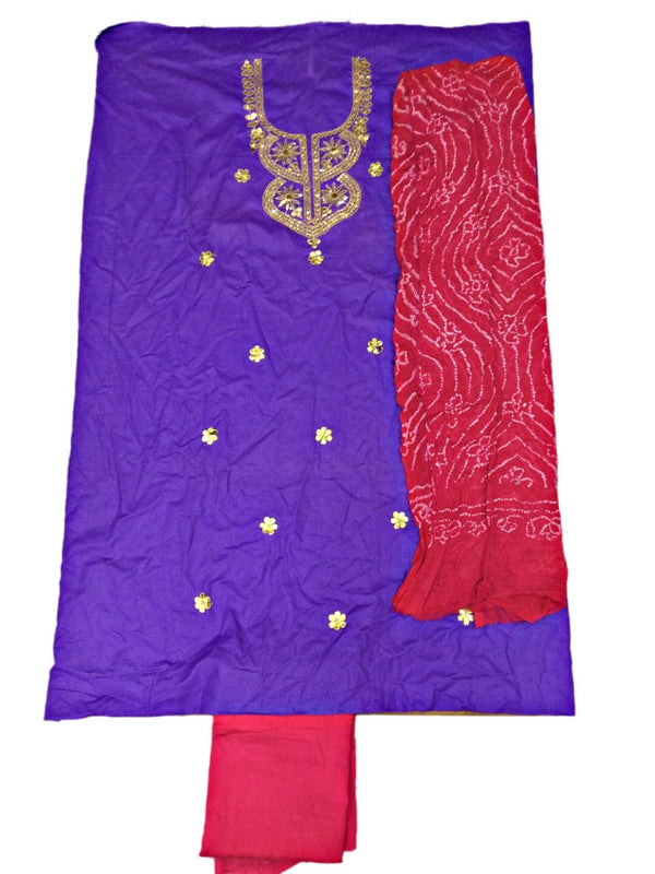 Purple And Pink Color Gota Patti Work Design Cotton Satin Bandhani Dress Material