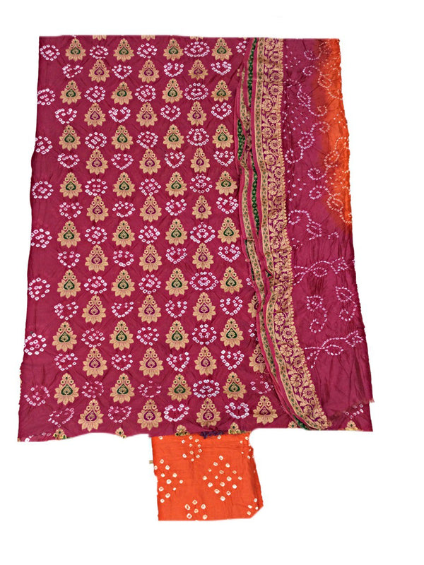 Peach And Orange Color Fancy Design Gadhwal Bandhani Dress Material - KalaSanskruti Retail Private Limited