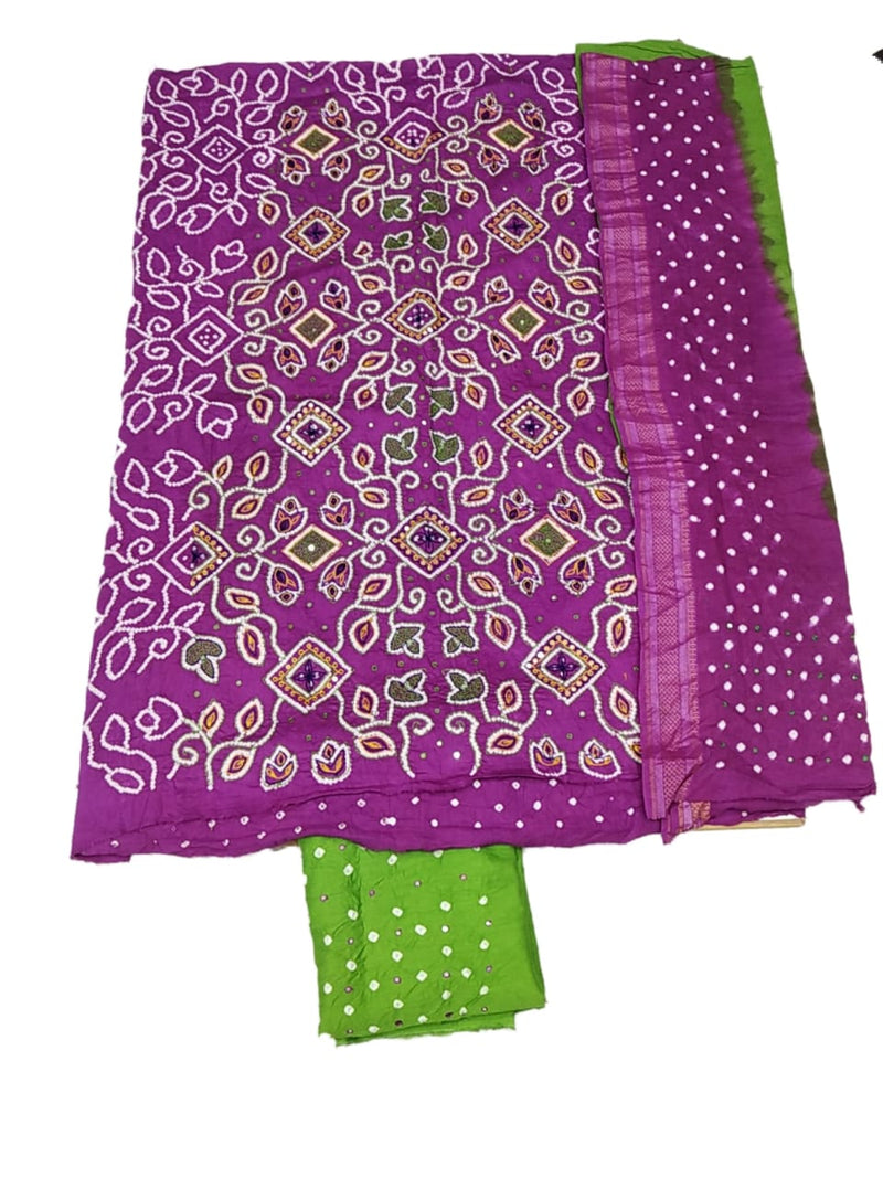 Magenta And Parrot Green Color Hand Work Design Cotton Satin Bandhani Dress Material