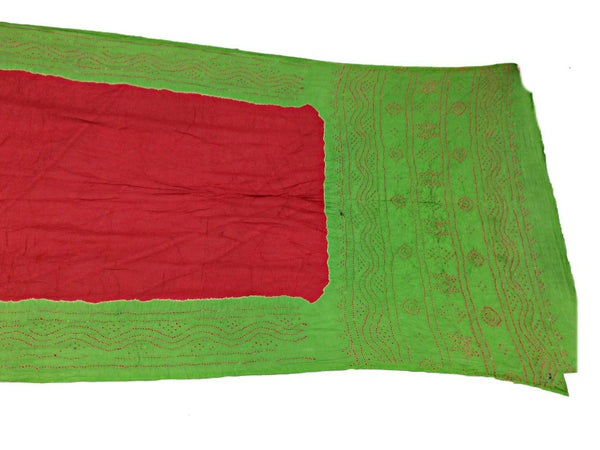 Parrot Green And Pink Color Fancy Design Cotton Bandhani Saree - KalaSanskruti Retail Private Limited