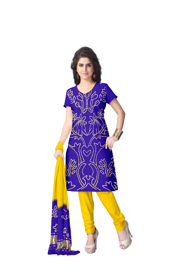 Blue And Yellow Color Fancy Design Gaji Silk Dress Material - KalaSanskruti Retail Private Limited