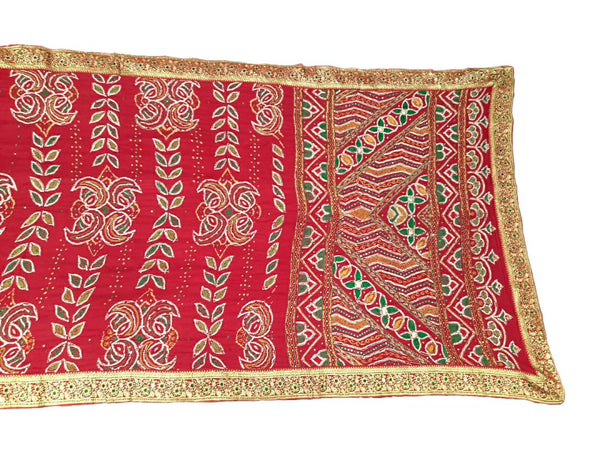 All Over Red Color Fancy Work Design Gaji Silk Bandhani Saree