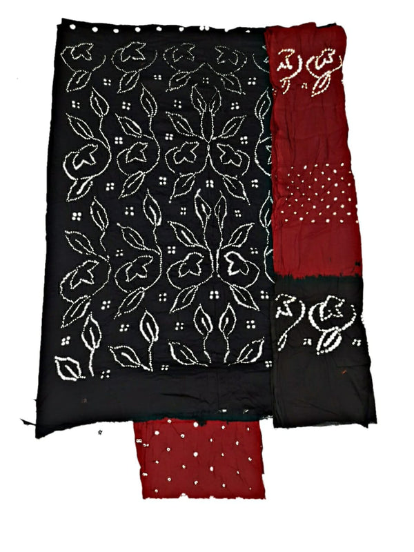 Black And Red Color Fancy Design Cotton Satin Bandhani Dress Material - KalaSanskruti Retail Private Limited