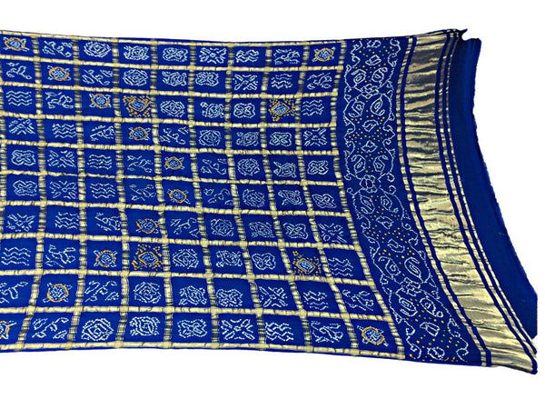 All Over Navy Blue Color Checks Design Gaji Silk Bandhani Dupatta
