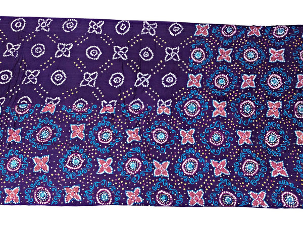 All Over Purple Color Fancy Design Work Gaji Silk Bandhani Saree