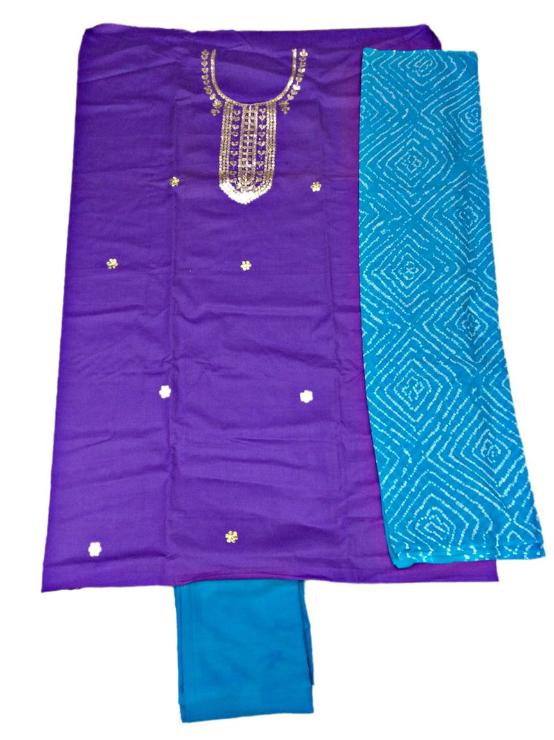 Purple And Sky Blue Color Gota Patti Work Design Cotton Satin Bandhani Dress Material