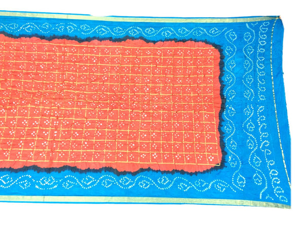 Sky Blue And Peach Color Fancy Design Art Silk Bandhani Dupatta