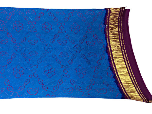 Sky Blue And Magenta Color Fancy Design Gaji Silk Bandhani Dupatta