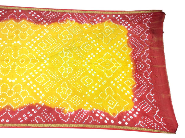 Orange And Golden Color Fancy Design Art Silk Bandhani Dupatta
