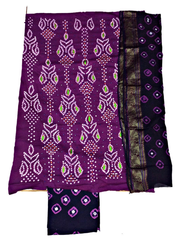 Magenta And Blue Color Hand Work Design Cotton Satin Bandhani Dress Material