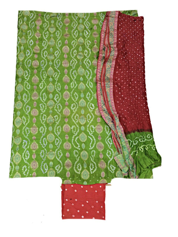 Parrot Green And Peach Color Fancy Design Gadhwal Bandhani Dress Material - KalaSanskruti Retail Private Limited
