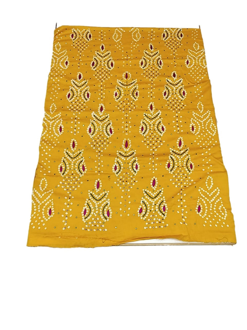Yellow And Mahendi Color Hand Work Design Cotton Satin Bandhani Dress Material