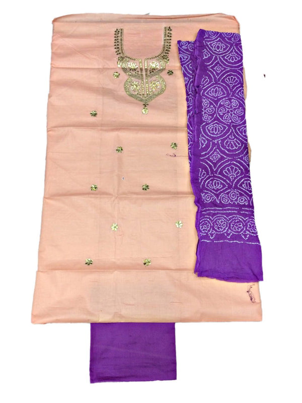 Cream And Magenta Color Gota Patti Work Design Cotton Satin Bandhani Dress Material