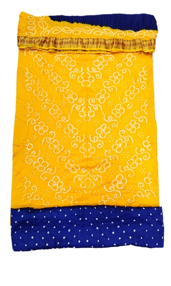 Yellow And Blue Color Fancy Design Cotton Satin Bandhani Dress Material