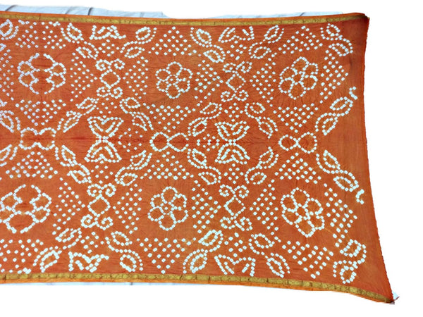 All Over Orange Color Fancy Design Art Silk Bandhani Dupatta
