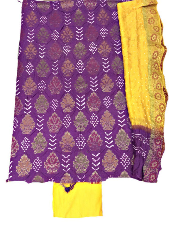 Magenta And Yellow Color Fancy Design Gadhwal Bandhani Dress Material - KalaSanskruti Retail Private Limited