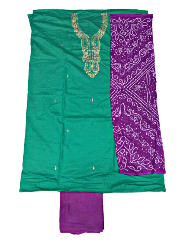 Sea Green And Magenta Color Gota Patti Work Design Cotton Satin Bandhani Dress Material