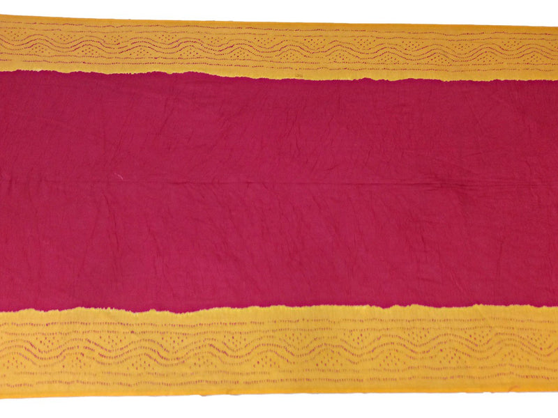 Yellow And Red Color Fancy Design Cotton Bandhani Saree