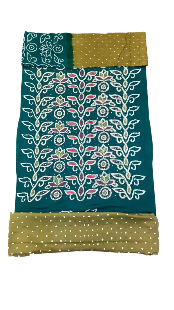 Sea Green And Mahendi Color Hand Work Design Cotton Satin Bandhani Dress Material