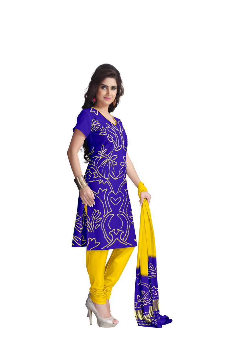 Blue And Yellow Color Fancy Design Gaji Silk Dress Material