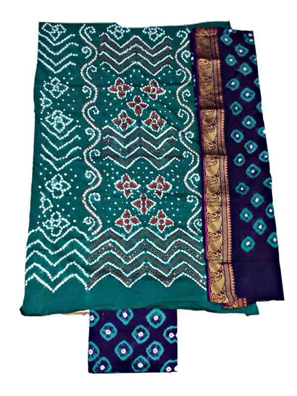 Sea Green And Blue Color Hand Work Design Cotton Satin Bandhani Dress Material