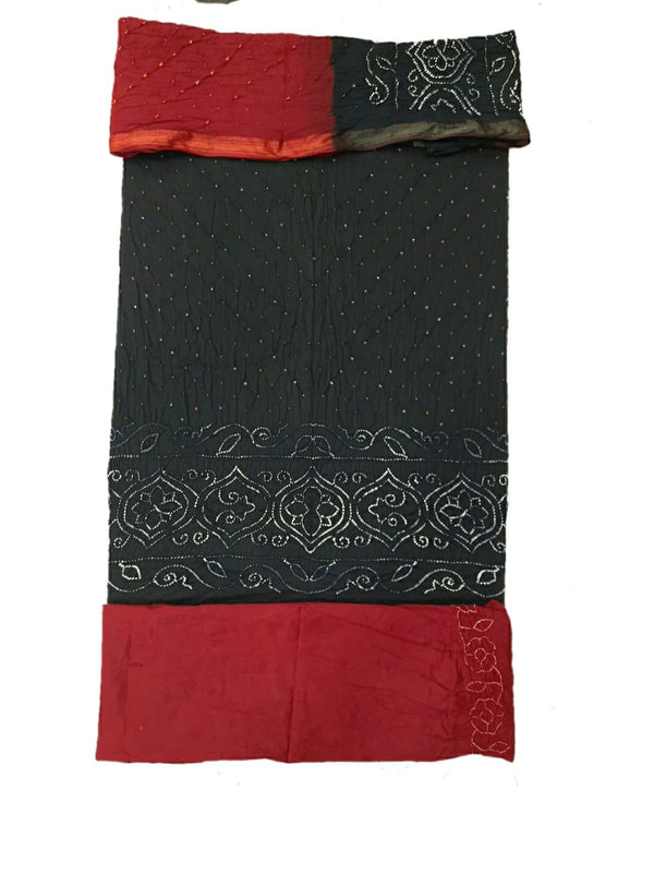 Black And Red Color Dani Design Cotton Satin Bandhani Dress Material