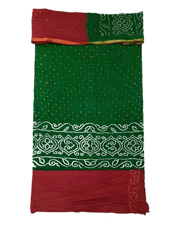 Green And Red Color Dani Design Cotton Satin Bandhani Dress Material