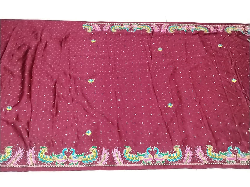 All Over Maroon Color Aabhla Work Design Gaji Sailk Bandhani Saree - KalaSanskruti Retail Private Limited