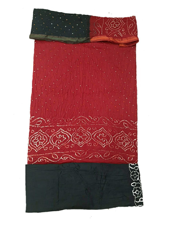 Red And Black Color Dani Design Cotton Satin Bandhani Dress Material