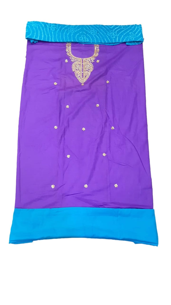 Purple And Sky Blue Color Gotta Patti Work Design Cotton Bandhani Dress Material