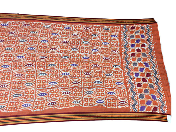 Sky Blue And Peach Color Fancy Design Cotton Bandhani Saree - KalaSanskruti Retail Private Limited