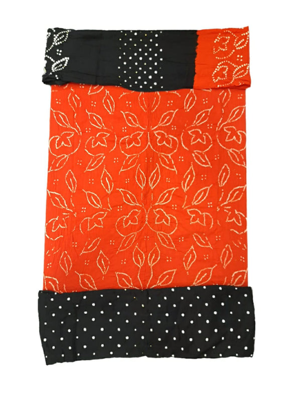 Orange And Black Color Fancy Design Cotton Satin Bandhani Dress Material
