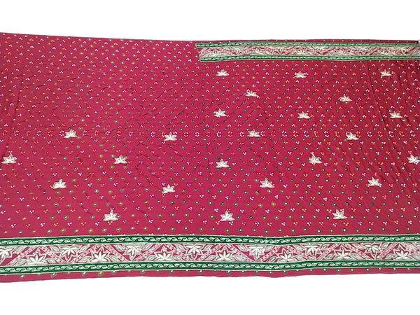 Red And Green Color Thread Work Design Gaji Silk Bandhani Saree - KalaSanskruti Retail Private Limited