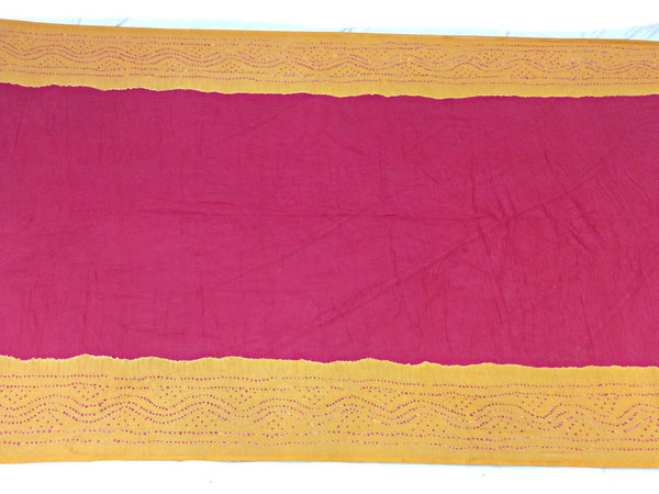 Golden And Pink Color Fancy Design Cotton Satin Bandhani Saree - KalaSanskruti Retail Private Limited