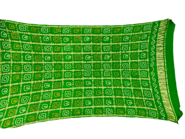 All Over Green Color Checks Design Gaji Silk Bandhani Dupatta