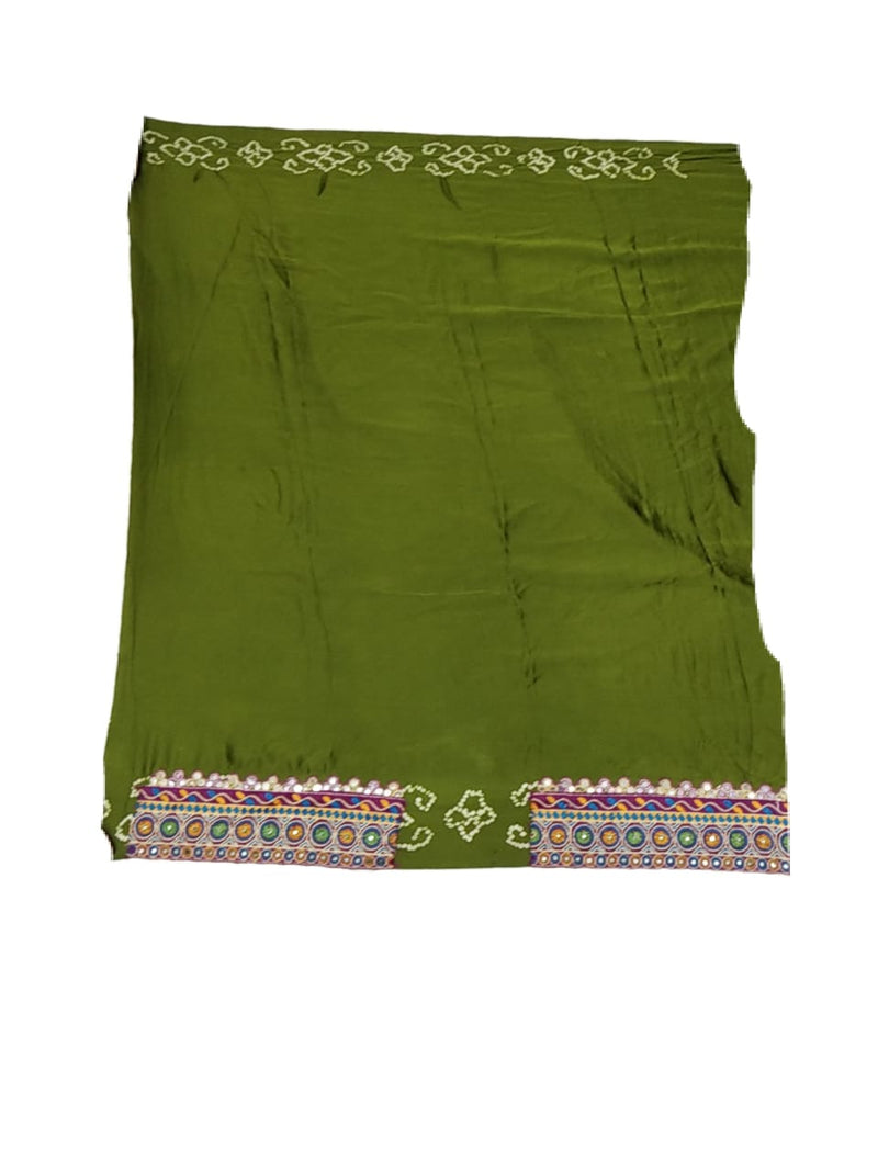 All Over Mahendi Color Aabhla Work Design Gaji Silk Bandhani Saree - KalaSanskruti Retail Private Limited