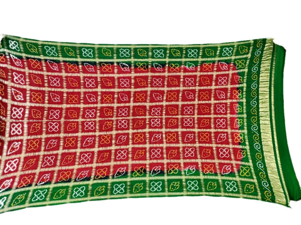 Red And Green Color Fancy Design Gaji Silk Bandhani Dupatta - KalaSanskruti Retail Private Limited