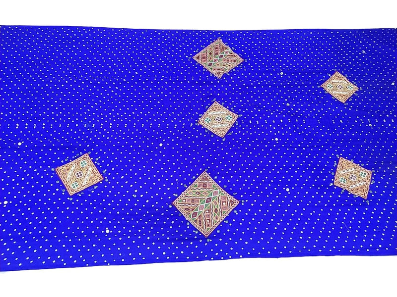 All Over Blue Color Aabhla Work Design Gaji Silk Bandhani Saree - KalaSanskruti Retail Private Limited