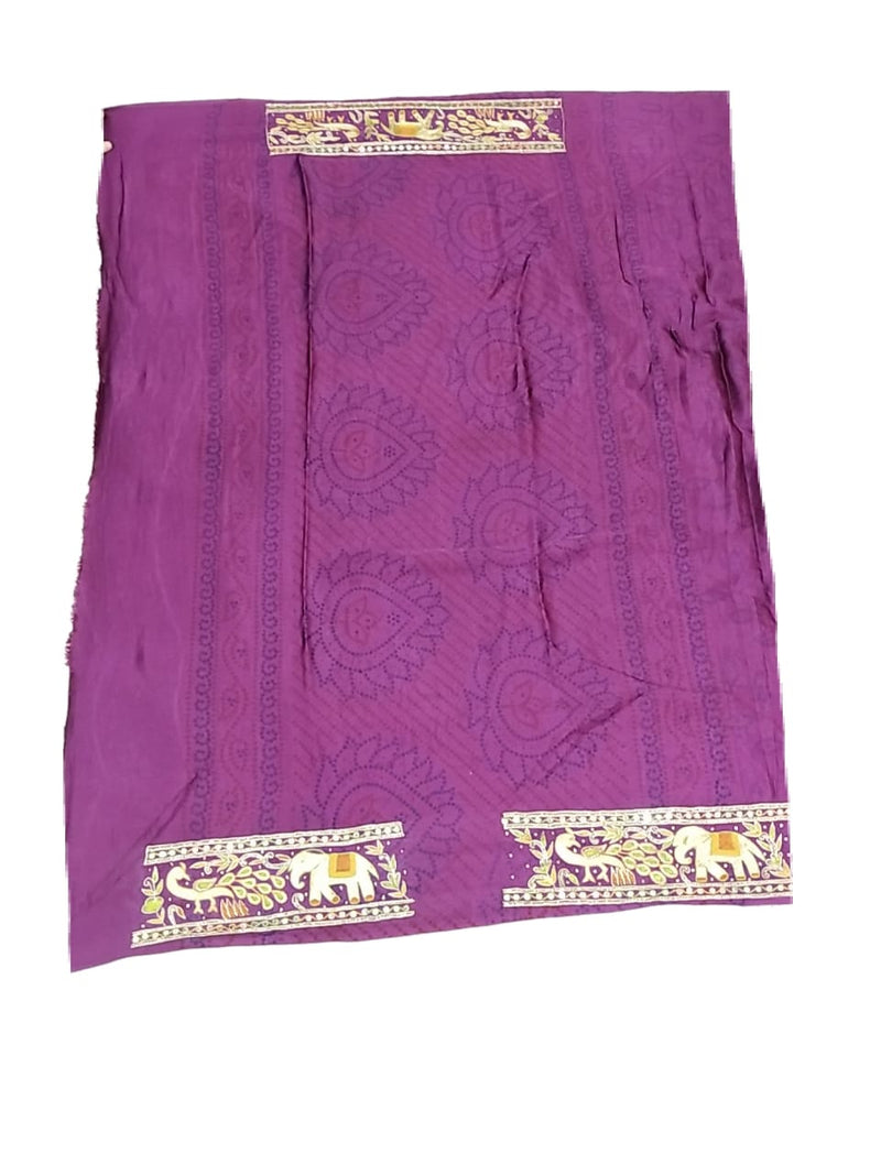 Mahendi And Magenta Color Handwork Design Gaji Silk Bandhani Saree - KalaSanskruti Retail Private Limited