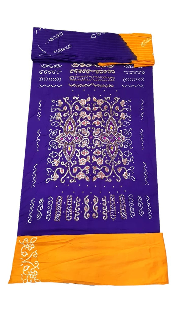 Purple And Golden Color Hand Work Design Cotton Satin Bandhani Dress Material