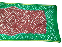 Coffee And Green Color Fancy Design Art Silk Bandhani Dupatta